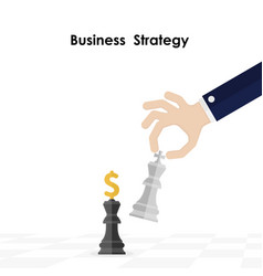 Hands and king of chess symbol with business and vector