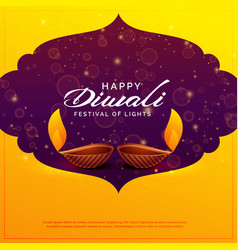 Happy diwali design with two diya lamps and vector