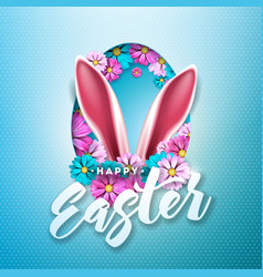 happy easter holiday design with spring flower in vector image