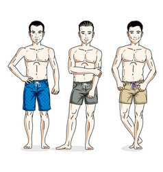Happy men posing with perfect body wearing beach vector