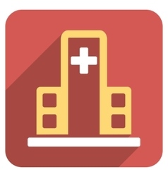 Hospital Building Flat Rounded Square Icon with vector