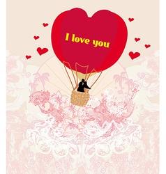 Hot Air Balloon - Valentine card vector image
