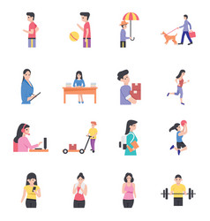 Human avatars icons pack vector