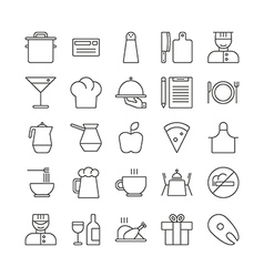 Icon set for restaurant in thin line style vector