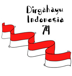 Indonesian independence day celebration with flag vector