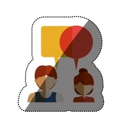 Isolated communication bubble and people design vector