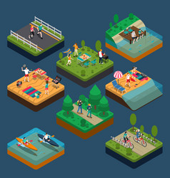 isometric activity people composition vector image