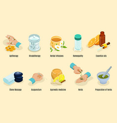 Isometric alternative medicine elements set vector