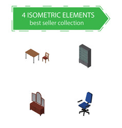 isometric furniture set of office drawer chair vector image