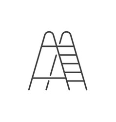 Ladder linear icon stepladder sign in vector
