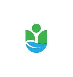 letter u leaf logo vector image