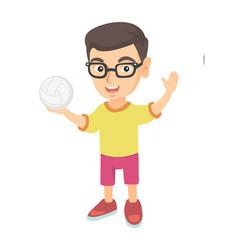 little caucasian boy holding a volleyball ball vector image