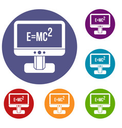 Monitor with einstein formula icons set vector
