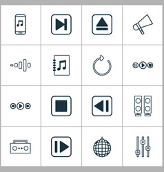 music icons set with refresh equalizer previous vector image