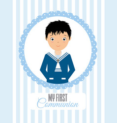 My first communion boy vector