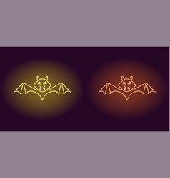 neon bat in yellow and orange color vector image