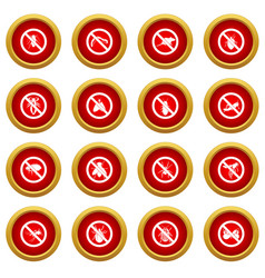 No insect sign icon red circle set vector