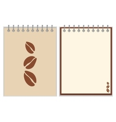 Notebook cover design with coffee beans vector image