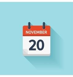 November 20 flat daily calendar icon vector