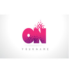 on o n letter logo with pink purple color and vector image