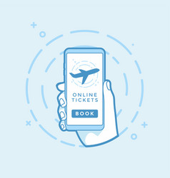 online book button and airplane icon on screen vector image