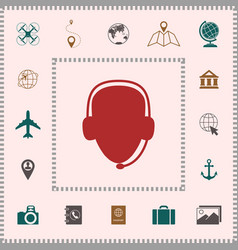 operator in headset call center icon elements vector image