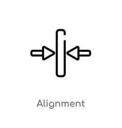 Outline alignment icon isolated black simple line vector