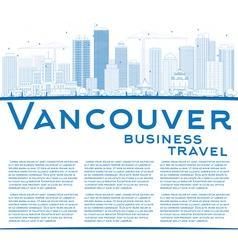 Outline Vancouver skyline with blue buildings vector