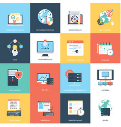 pack of web and seo icons vector image