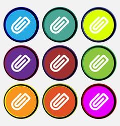 Paper Clip icon sign Nine multi-colored round vector