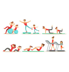 parents with kids doing fitness exercises together vector image
