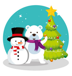 pine tree with snowman and snow bear vector image