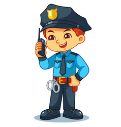 Police officer boy checking information with vector