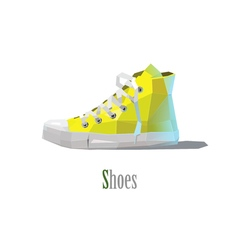 Polygonal of yellow sneakers vector