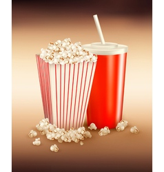 popcorn box and cola vector image vector image