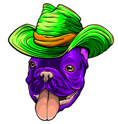 Pug in cowboy s hat graphics vector