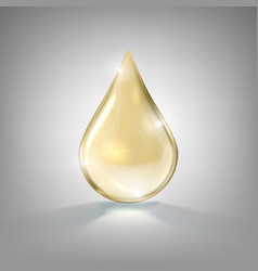 Realistic gold glass drop of cosmetic oil vector