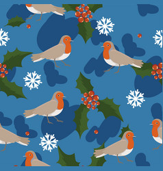 Robin birds seamless pattern with berries and vector