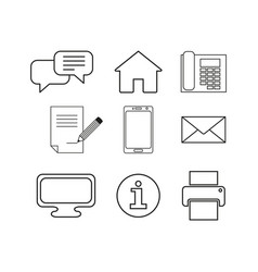 set contacts message online icons vector image
