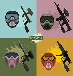 set paintball helmet and guns vector image