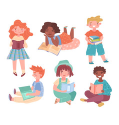 set six reading or studying kids vector image