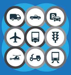 shipment icons set collection of truck skooter vector image