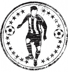 soccer player stamp vector image