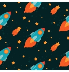 Space background with rockets flying vector image