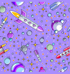 space seamless background with rockets planets vector image