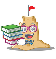 Student with book sandcastle character cartoon vector