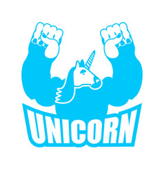 unicorn is strong and angry powerful and vector image