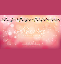 valentine day pink background with lights vector image