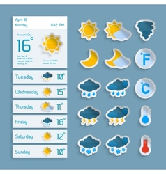 Weather Paper Widgets Set vector