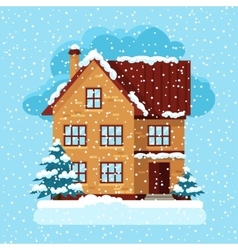 Winter card design with house and trees vector